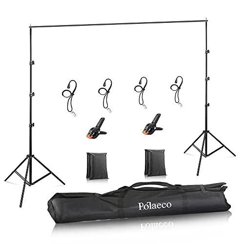 Soporte de Fondos 2,6x3 Metros Sistema de Soporte de Estudio con Clips y Bolsas Arena para Fotografía de Productos, Retrato y Grabación de Video