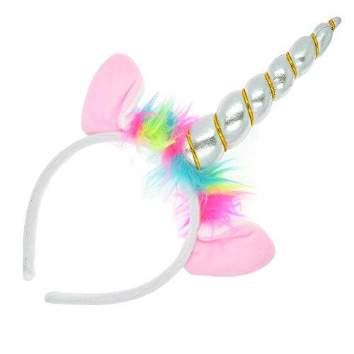 Girls Silver Unicorn Horn & Ears on Headband/ Alice Band - Fancy Dress/ Parties/ Dressing UP