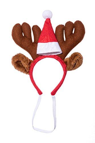 Ciffre Weihnachtsgeweih Elch Geweih Haarreif Weihnachtsmütze Nikolausmütze für den Hund Katze Braun