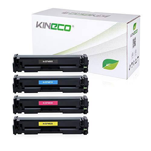 Kineco 5 Toner kompatibel mit HP CF400X CF401X CF402X CF403X Laserjet Pro MFP M277dw, M277n, M274n, Laserjet Pro M252dw, M250 Series - 201X - Schwarz je 2.800 Seiten, Color je 2.300 Seiten