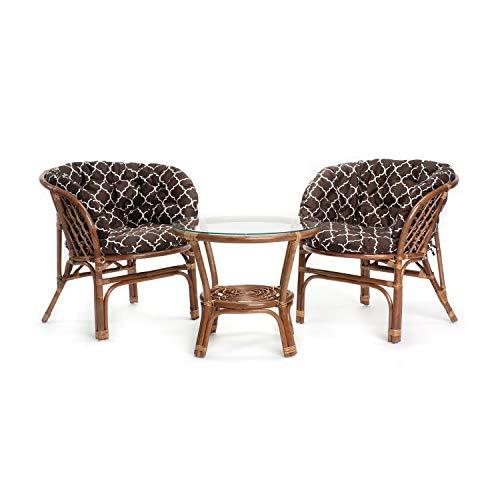 Rattan Gartenmöbel Set - Balkon Möbel - Lounge Möbel Terrasse - Ragnarök Gartenmöbel - Tisch Set - Balkonmöbel Set… (Kissen Gemustert)