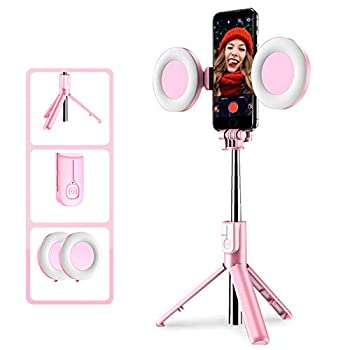 Bluetooth Selfie Stick with Light 2 Adjustable 3 Brightness LED Ring Light Wireless Remote for Live Stream/Photography/Makeup/Table Lamp Compatible with iOS and Android Pink