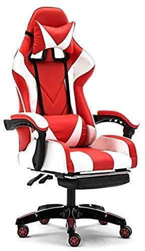 Computerstuhl, ergonomischer Gaming-Stuhl, Bürostuhl, Sportstuhl, Rennsessel, Sessel (Farbe: Weiß mit Fußhocker)