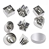 24 Piece Mini Geometric Stainless Steel Biscuit Mold Cookie Biscuit Cutter Set Rectangle Square Heart Triangle Round Tiny Circle Cookie Cake Mold Baking Appliance