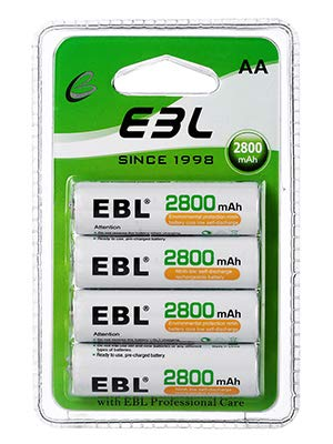 EBL 単3充電池 充電式 ニッケル水素充電池 4本入り 大容量単三電池 2800mAhで長持ち 約1200回使用可能 単三充電池 AA充電池4本パック おもちゃ、LED懐中電灯、ラジオ、カレンダーに適用 単三電池