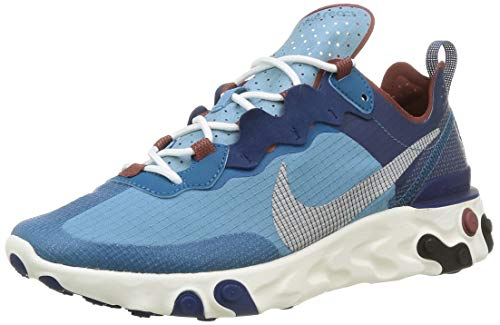 Nike React Element 55 RM, Chaussure de Course Homme, Coastal Blue White Cerulean Green Abyss Claystone Red Sailor, 39 EU