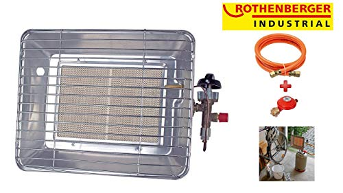 Rothenberger Industrial 035984F Chauffage Radiant Brasero Infrarouge de Chantier - Version France, 4200 W, Gris