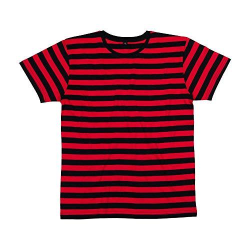 Mantis – Camiseta retro de rayas., hombre, Mantis - Mens Retro Streifen T-shirt, negro/rojo, medium