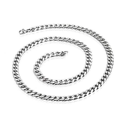 XinLuMing Calle Hip Hop Collar de Titanio Steel Cadena Plana Personalidad Hombres y Mujeres Ropa de Acero Inoxidable con Cadena (Size : 3mmX65cm)