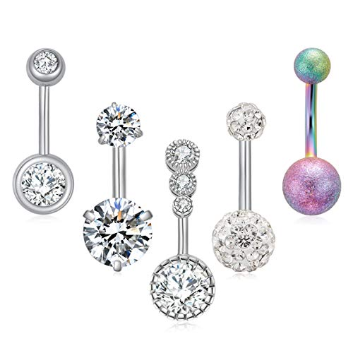 Ldurian 14g Belly Button Rings Surgical Steel CZ Navel Ring Barbell for Women Girls Body Piercing Jewelry Rose Gold Silver