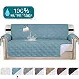 Turquoize 100% Waterproof Oversized Quilted Sofa Cover for Leather Couch Protector Dog Sofa Slip Cover Protector for Living Room Stay in Place Furniture Protector (Oversize Sofa 78',Blue)