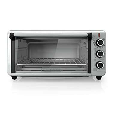 BLACK+DECKER TO3240XSBD 8-Slice Extra Wide Convection Countertop Toaster Oven, Includes Bake Pan, Broil Rack & Toasting Rack, Stainless Steel Convection Toaster Oven