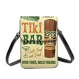 IUBBKI Ti-Ki Bar con bevanda tropicale Citazione divertente Borsa piccola a tracolla per telefono da donna, borsa a tracolla per cellulare Porta carte di credito Portafoglio