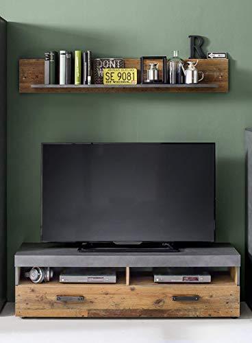 trendteam Wohnzimmer Lowboard Fernsehschrank mit Wandboard Indy, 139 x 41 x 40 cm in Korpus Graphit Grau, Front Old Wood NB mit viel Stauraum