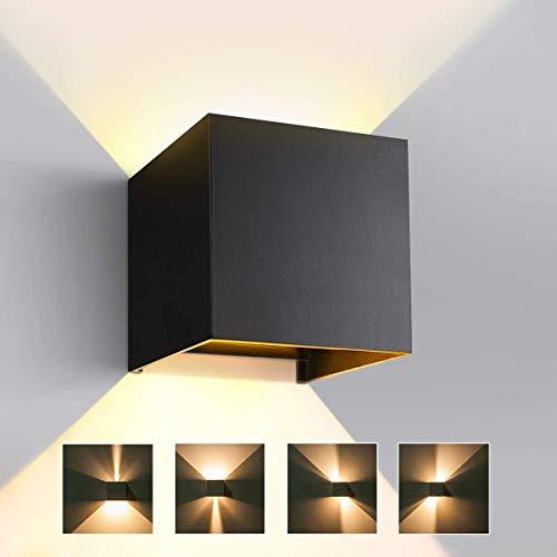 LED Wandleuchte Innen/Aussen, 12W Moderne Auf/ab Wandlampe mit Einstellbar Abstrahlwinkel 3000K Warmweiß, IP65 Wasserdichte Wandbeleuchtung für Wohnzimmer Schlafzimmer