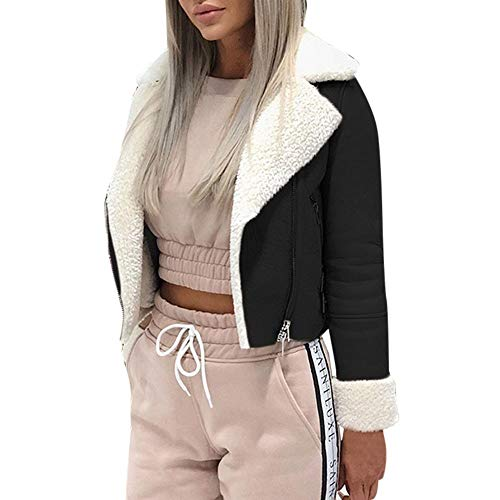 Amcool Damen Jacken,Revers Bikerjacke Pilotenjacke Lederjacke Solide Langarm Winterjacke Coat mit Fell Top Und Schrägem Reißverschluss