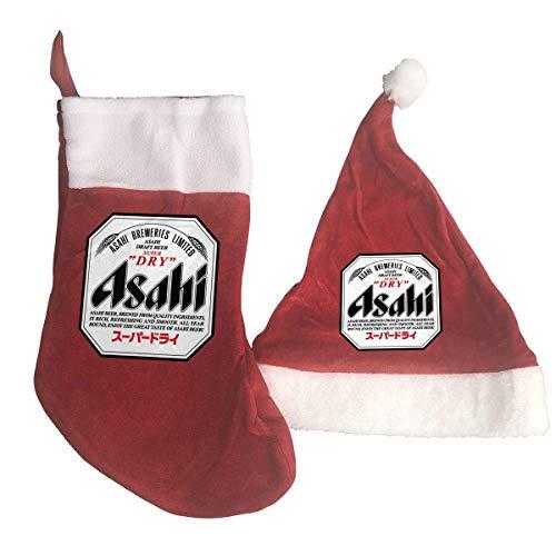 Lsjuee Weihnachtsstrumpf &Weihnachtsmütze Set Asahi Bier Weihnachtsmann, Schneemann, Rentier Weihnachten Dekorationen Party Zubehör