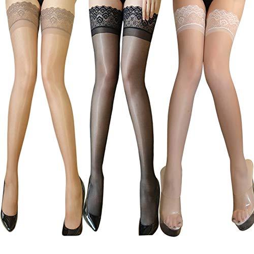 FancyWhoop 3 paia di calze autoreggenti da donna, calze velate sexy ultra luccicanti, calze autoreggenti in silicone antiscivolo (nero + bianco + natura)