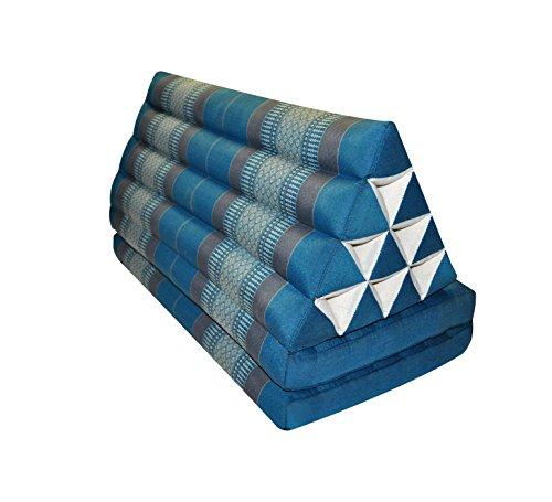 Wilai Bodenkissen XXL Sitzkissen Bodenmatte Loungekissen Zierkissen Kapok Thaikissen, ausklappbar Dreiecksform mit Zwei Auflagen, Blau-Grau