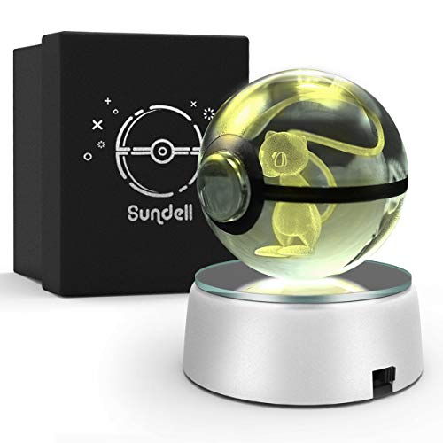 Gifts for Christmas, Sundell Unique Birthday Gifts for Children, 3D Crystal Ball with Discoloration Lamp Base, Children's Gift in Gift Box (Mew)