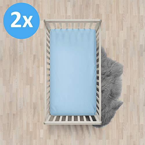 Melunda Baby 2er Set Spannbettlaken 100% Baumwolle - Blau - 60x120 / 70x140 - Jersey Spannbetttuch Doppelpack für Kinderbett - Oeko-Tex® Standard 100
