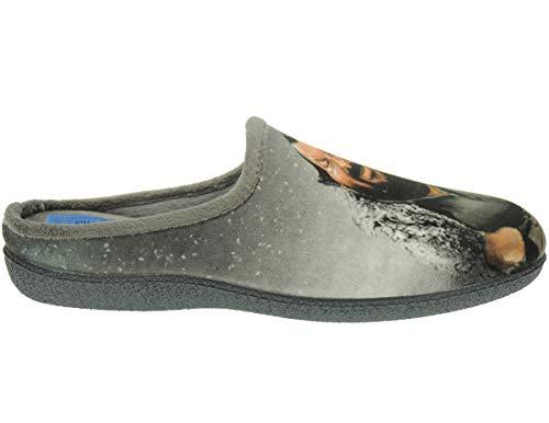 ALBEROLA LC8496 Chinela - Zapatilla Destalonada Descalza de IR por Casa para Hombre - Bud Spencer Gris Talla 42