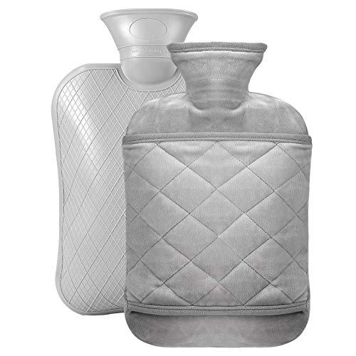Bolsa de agua caliente con funda suave – 1,8 l cojín de calor rápido alivio del dolor y comodidad, lavable, segura y duradera, bolsa de agua caliente para niños, color gris 2