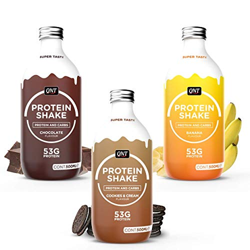 QNT Fit Protein 53g Glass-Bottle Protein Shake RTD - Mixed CASE (12x500ml)