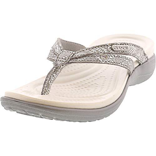 Crocs womens Crocs Women's Capri Strappy   Casual Comfortable Sandals for Women Flip Flop, Metallic Silver, 9 US