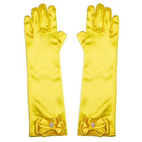 Little Girls Princess Gloves(Solid Color Long Elbow Length) For Birthday,Wedding,Holiday,Costume Party(Yellow/Golden)