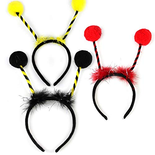 3Pcs Elf Alien Bee Ant Antennas Fur Ball Headband Set Cosplay Costume Party Accessory for Women Girls Kids Black