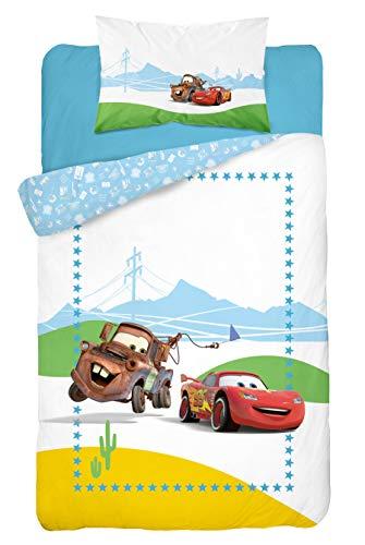 Disney Cars - Juego de ropa de cama infantil (2 piezas, funda nórdica de 100 x 135 cm y funda de almohada de 40 x 60 cm, 100% algodón), diseño de Cars