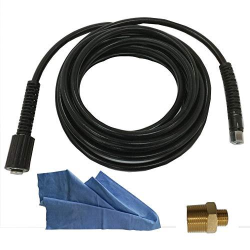 Parpyon Lavor - Kit de extensión de manguera de repuesto para limpiador a presión de agua fría - Longitud 6 metros + empalme ideal para alargar el tubo - Casquillo M22 - 1/4 + paño profesional