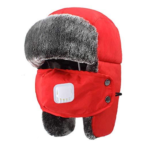 YUANOMM Sombrero De Bombardero,Unisex Winter Ear Flap Bomber Hat,Navy Ski Hair Hombres Y Mujeres Parejas…