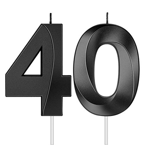 2 Pieces 40th Birthday Candles Numeral Candles 3D Diamond Shape Number 40 Candles Cake Topper for Reunions Theme Party Anniversary Birthday Party Supplies (Black)
