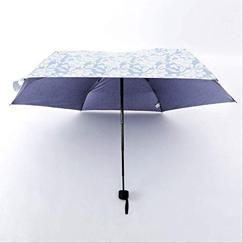 NJSDDB paraplu Mini Pocket Paraplu Vrouwen Opvouwbare Vintage Rose Parasol Winddicht Dubbele Laag Anti-Uv Outdoor Reizen Parasol, Lichtblauw