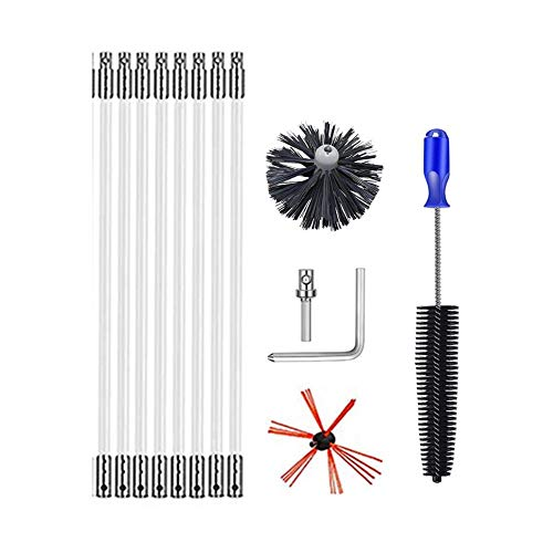 Cleaning Brush Dryer Duct Cleaning Kit Dryer Vent Cleaning Brush Kit Chimney Sweep Kit Chimney Cleaner Flexible Rods, Fireplace Decoking Devices, Dura