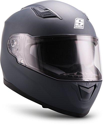 "Soxon® ST-1000 Mono ""Navy"" · Integral-Helm · Full-Face Motorrad-Helm Roller-Helm Scooter-Helm Cruiser Sturz-Helm Street-Fighter-Helm Sport Urban · ECE Sonnenvisier Schnellverschluss Tasche M (57-58cm)"