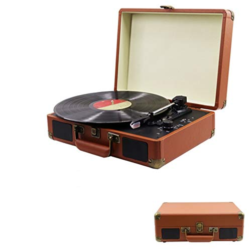 Calistouk Tocadiscos Bluetooth estéreo 3 velocidades 33/45/78 RPM Vintage marrón inalámbrico Vinilo...