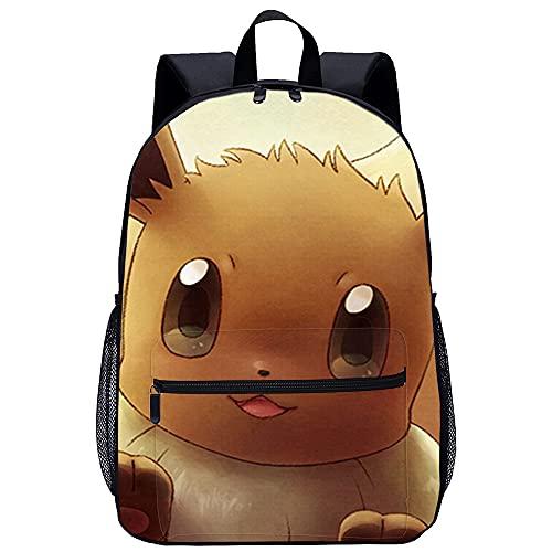 Visionpz Eevee Sac à dos scolaire Pokemon Sac à dos d impression 3D Sac à dos décontracté Sac à dos pour ordinateur portable Sac à dos en toile Sac à dos cartable classique