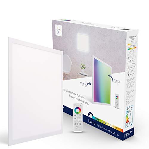 tint von Müller-Licht Smartes LED-Panel Loris quadratisch, 45x45cm, white+color (Weißtöne 1800-6500K & farbiges Licht RGB), direktes + indirektes Licht, 1800 lm, Zigbee, inkl. Fernbedienung