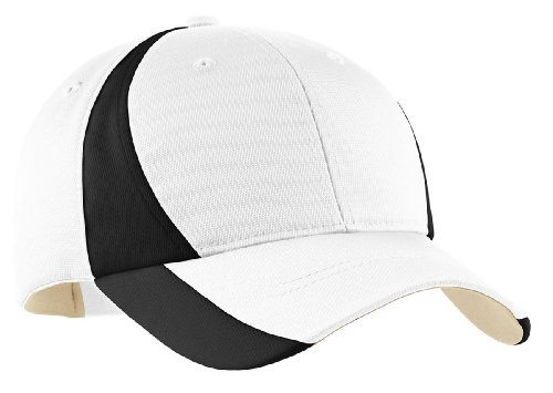 Sport-Tek® Dry Zone® Nylon Colorblock Cap. STC11 White/Black OSFA