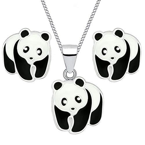 Kids Panda Ring Anhänger Halskette Ohrstecker 925 Echt Silber Kinder Mädchen Pandabär Set (2) 2er Set, 40)