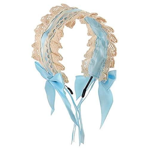 Lolita Head Band Accesorios para el cabello Cosplay Lace Ribbon Bowknot Lindo Hair Band Kawaii Tocado Cosplay Katyusha Classy Bonnet Barato KC Hair Band Ventas (azul claro)
