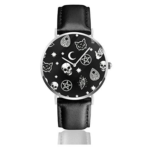 Katzenschädel Moon Star Black Quartz Movement Lederarmbanduhren Armbanduhren
