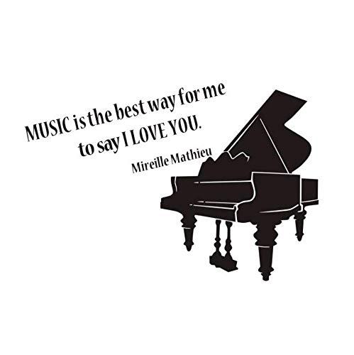 Etiqueta de la pared La música es la mejor manera para mí Cita Decoración del dormitorio Piano Vinilos removibles Tatuajes de pared Tienda de música Murales de aula 64X43 cm
