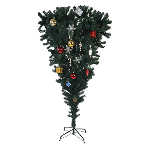 KARMAS PRODUCT 5.5 FT Upside Down Artificial Christmas Tree with Metal Leg 578 Tips Green