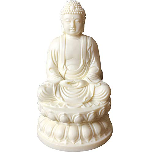 J.Mmiyi Meditating Buddha Statues for Home Figurine, Religion Sculptures And Statues for Living Room, Decorative Sitting Zen Decoration for Patio Desk Art Ornaments,White