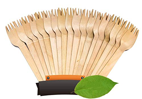 Disposable Wooden Forks -100% All-Natural, Eco-Friendly, Biodegradable, and Compostable - Because Earth is Awesome! Pack of 100-6.5' Forks.