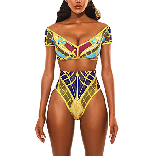Dorical Badeanzug Bademode Bikini/Damen Frauen Sexy Afrikanischen Druck Böhmischen Stil Jumpsuit Set Bademode Badeanzug Beachwear Schwarz Retro Dessous Overall Sonderverkauf(Mehrfarbig,X-Large)